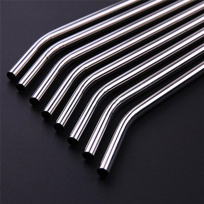 Stainless Steel Straws, Set Of 9 With 3 Cleaning Brushes