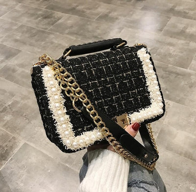 High Quality Woolen Pearls Square Women's Designer Tote Crossbody Bag