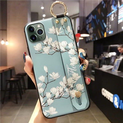 Wrist Strap Floral Case For iPhone