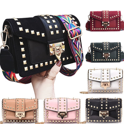 Velvet Rivets Square PU Women's Handbag Chains Shoulder Crossbody Bag