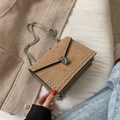 Rivet Lock Chain Leather Small Shoulder Crossbody Messenger Mini Travel Bags For Women