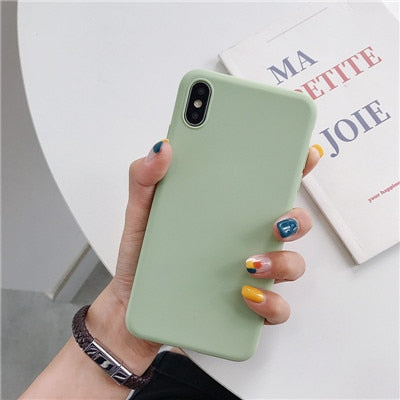 Luxury Thin Soft Color Phone Case for iPhone 7 8 6 6s plus 5 5s SE Case Silicone Back Cover Capa for iPhone X Xs 11 Pro Max XR