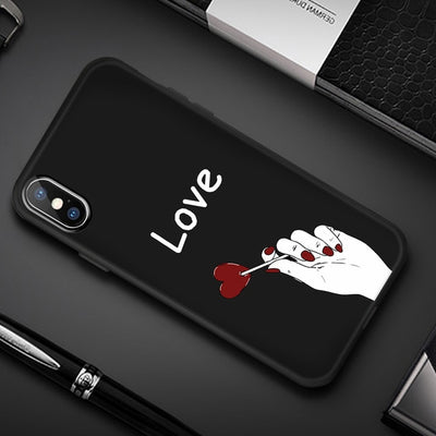 Silicone Cover Couple Case For iPhone