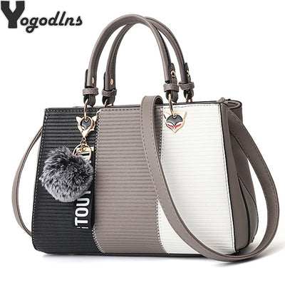 Women's Pom Pom Totes Patchwork Handbag Party Purse Ladies Messenger Crossbody Shoulder Bags