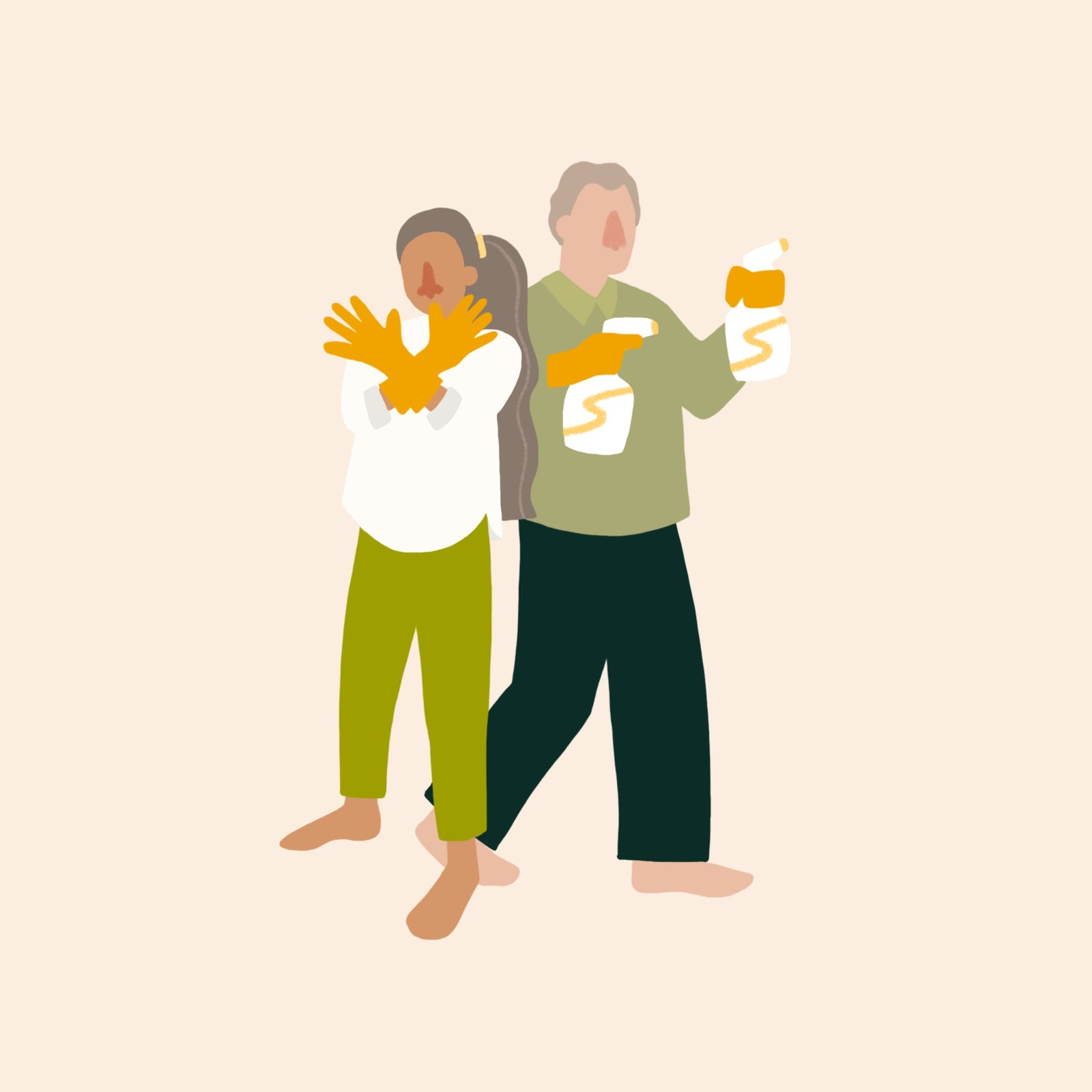 Illustration of Martha and Craig holding cleaning supplies and wearing gloves.