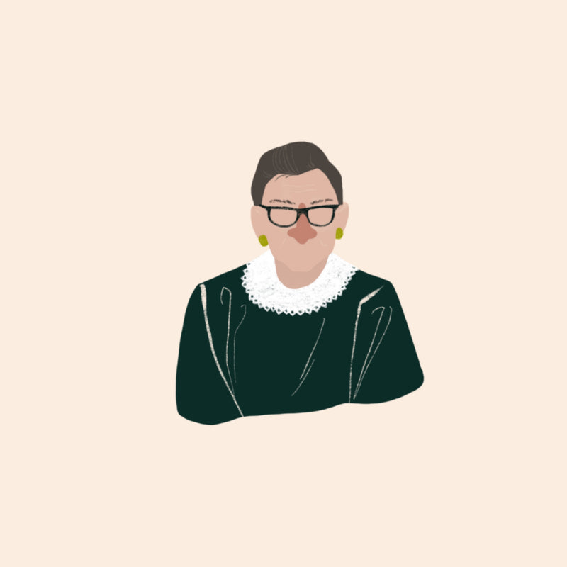 Illustration of Ruth Bader Ginsburg.