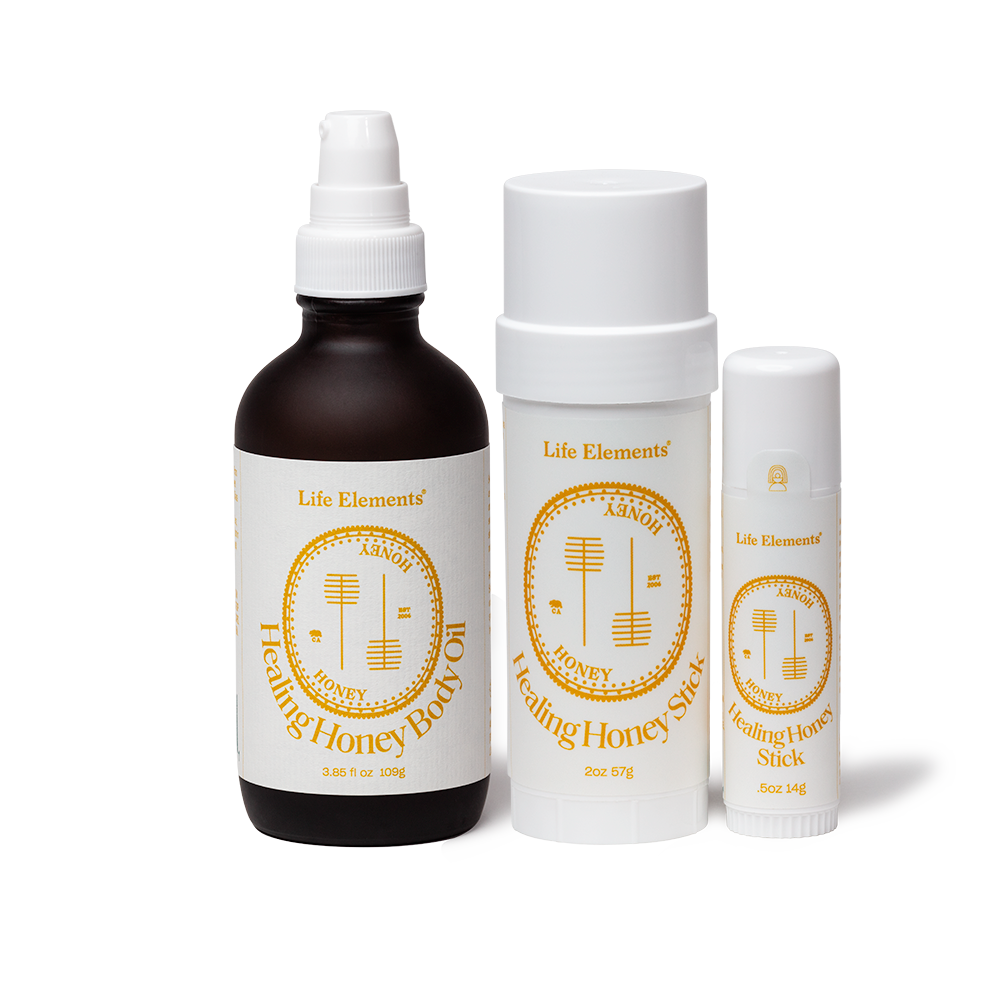 Life Elements No CBD Woo Woo Kit containing Healing Honey Body Oil, Large and Small size Healing Sticks