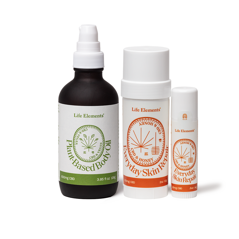 Life Elements CBD Woo-Woo Skin Kit containing CBD Plant-Based Body Oil, Large & Small Skin Repair Sticks
