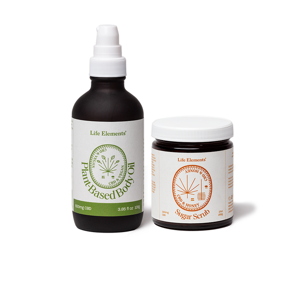 Life Elements Shower and Slather Kit containing Plant Based CBD Body Oil and CBD Sugar Scrub