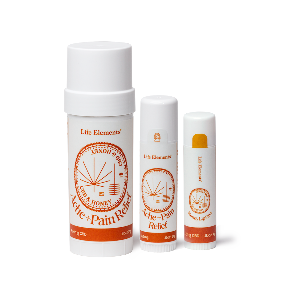 Life Elements Pain Point Kit containing Large and Small CBD  Ache & Pain Sticks with one CBD Lip Goo (Honey Flavor)