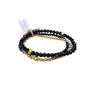 Bracelet Set Cut Glass Black Gold