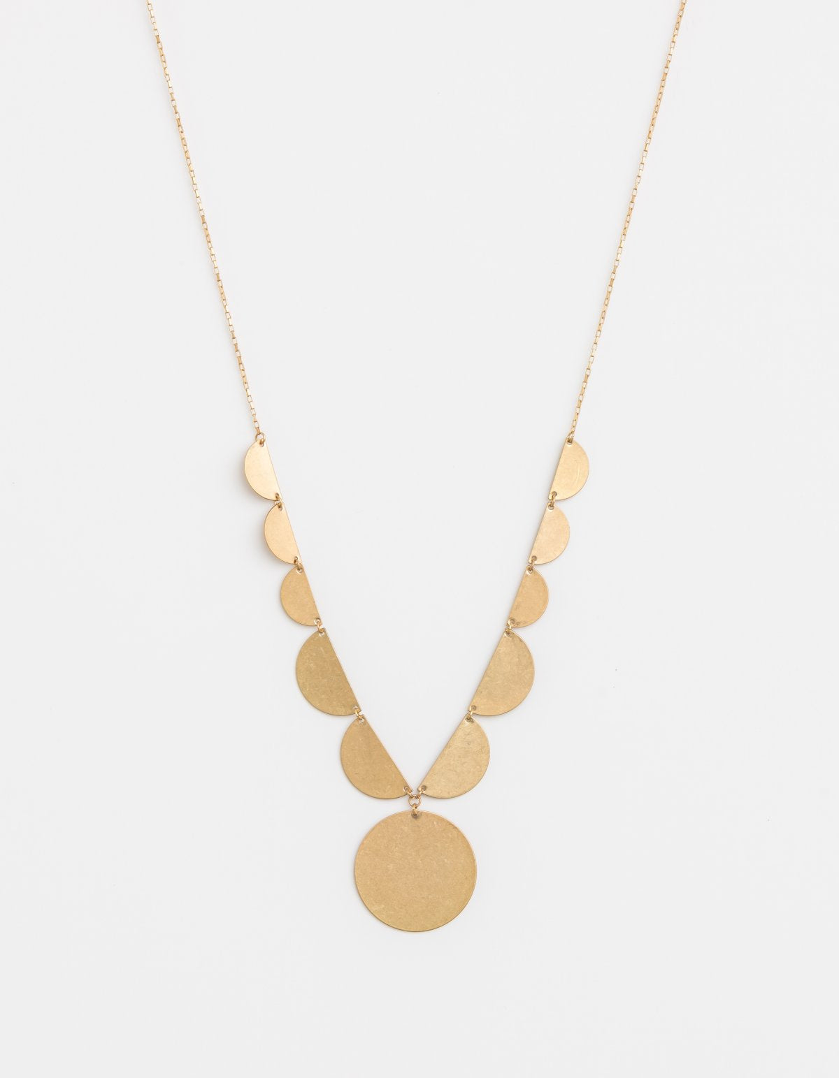 Necklace Worn Gold Crescent