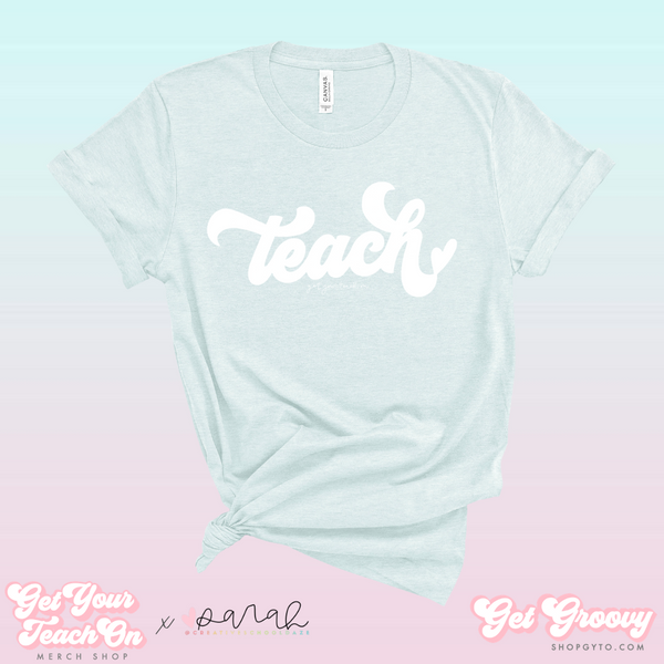 Groovy Teach Tee (Ice Blue)