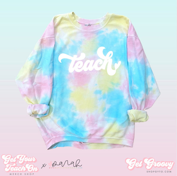 Groovy Teach Tie-Dye Corded Sweatshirt