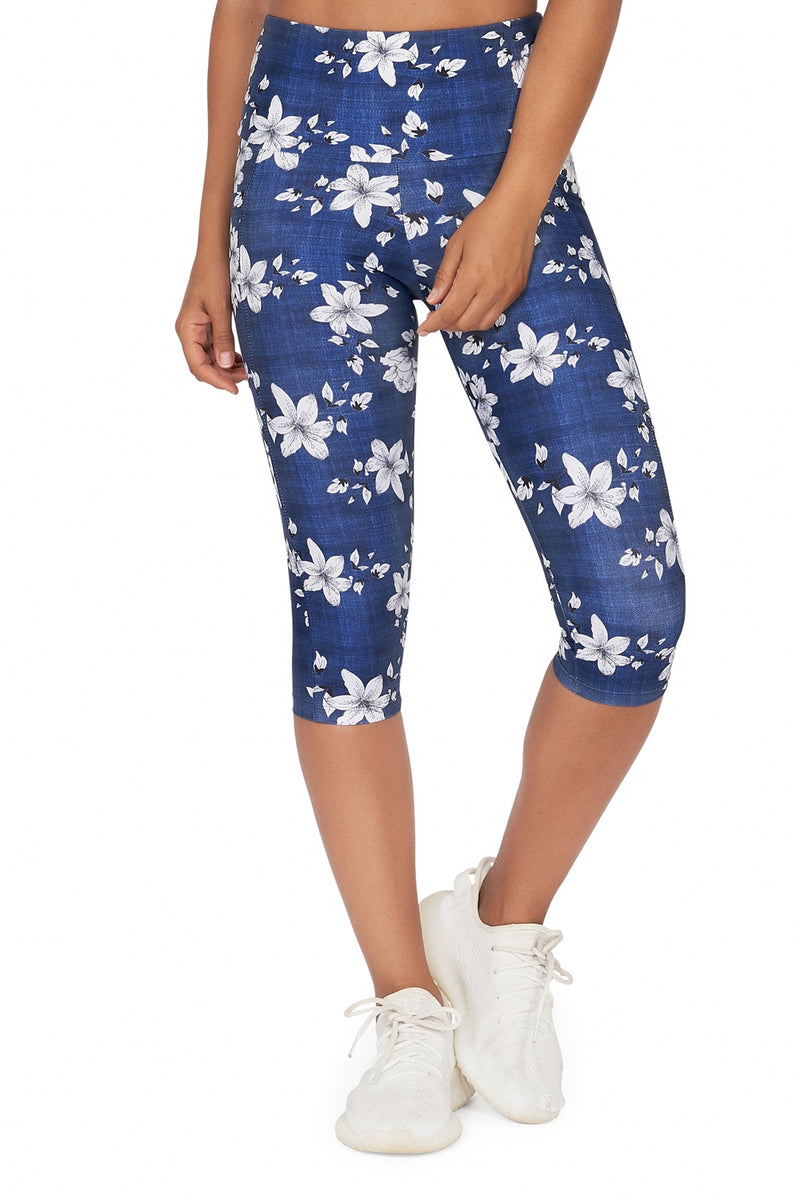 Blue Spring High Waisted  Under Knee with Pockets