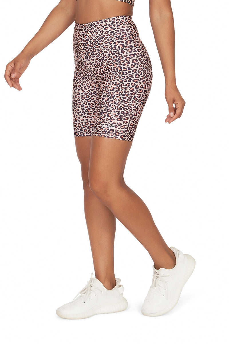 Brown Leopard High Waisted Bike Shorts
