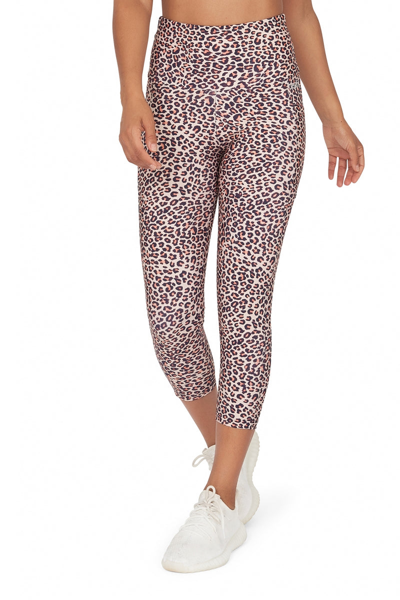 Brown Leopard High Waisted  Mid Calf Legging with Pockets