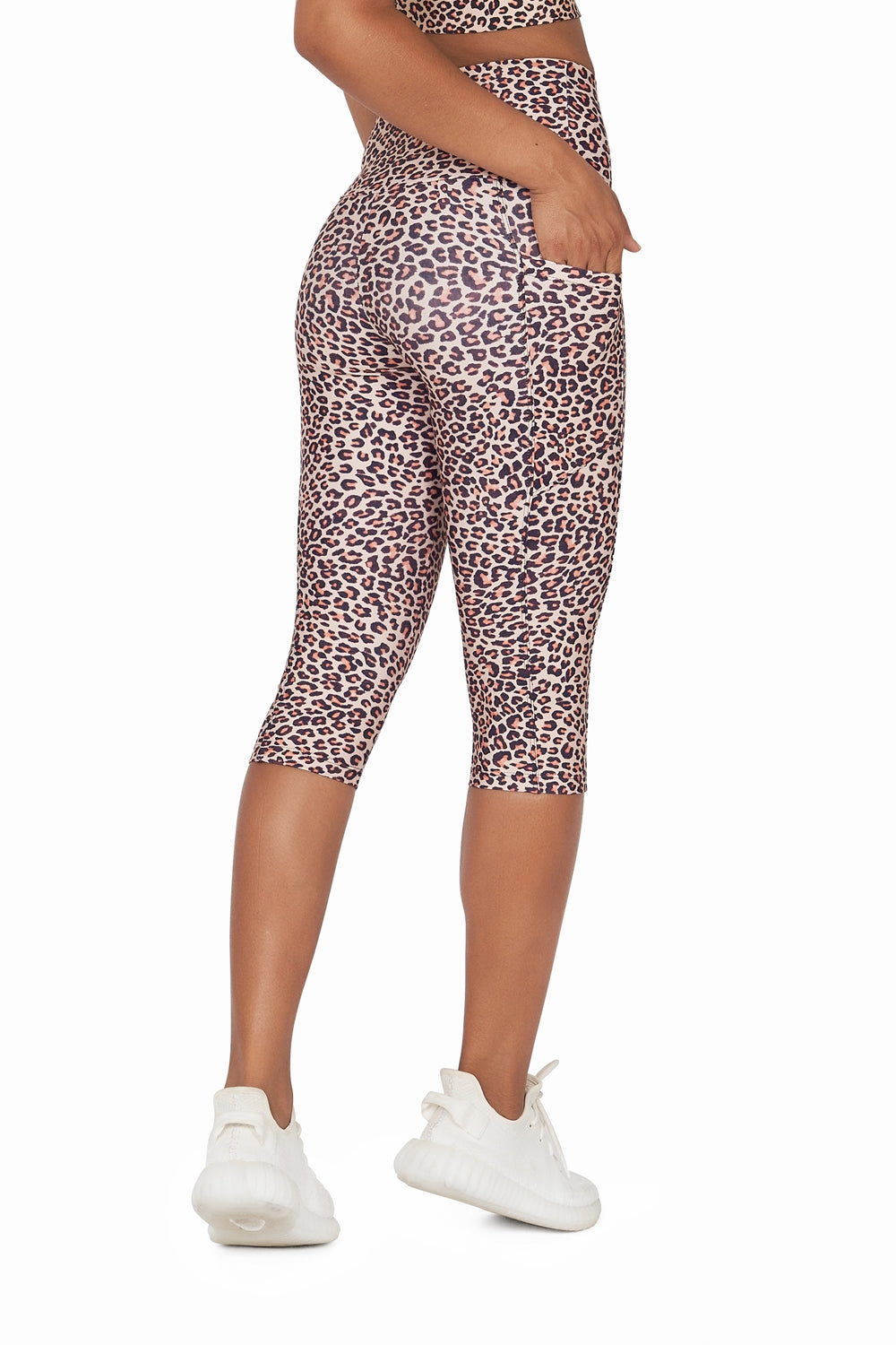Brown Leopard High Waisted  Under Knee with Pockets