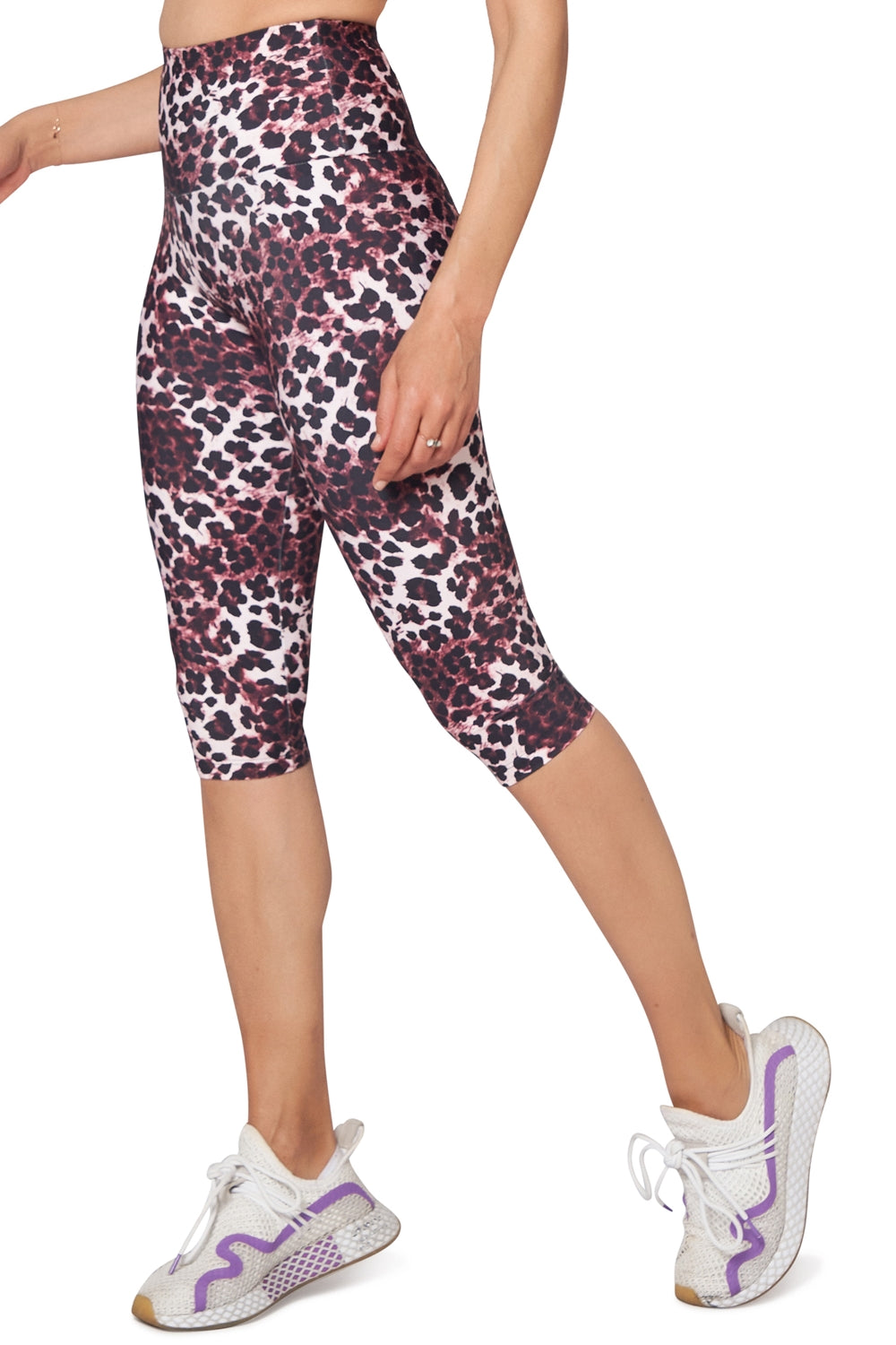 Pink Cheetah High Waisted  Under Knee