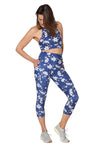 Blue Spring High Waisted  Mid Calf Legging with Pockets