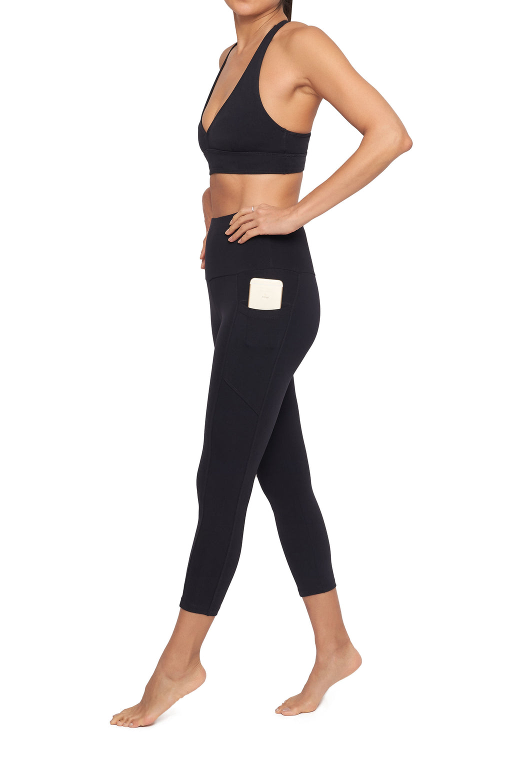 High-Waisted Supplex Mid Calf Legging with Pockets