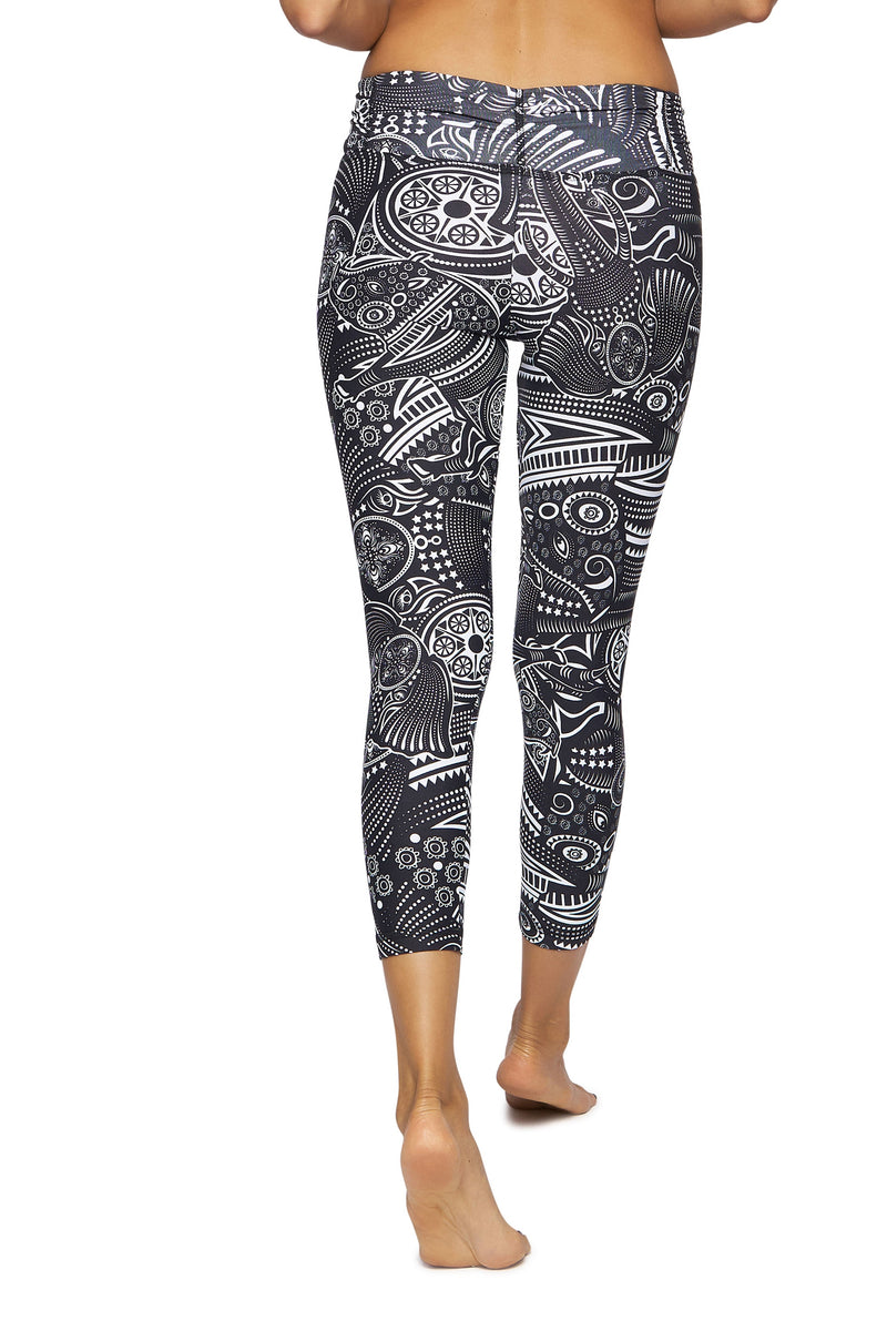 Black Flower Mid Calf Legging