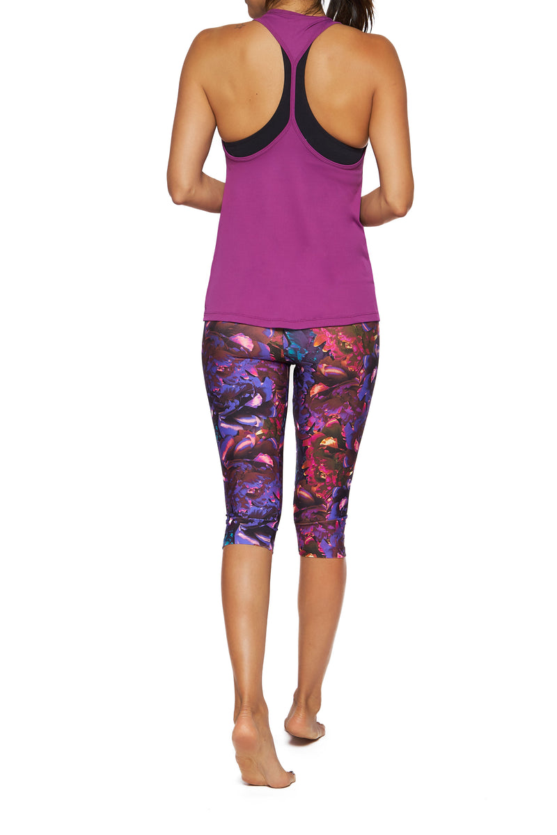 Brasilfit Australia Activewear High compression Under Knee tights in a bold floral print - back view