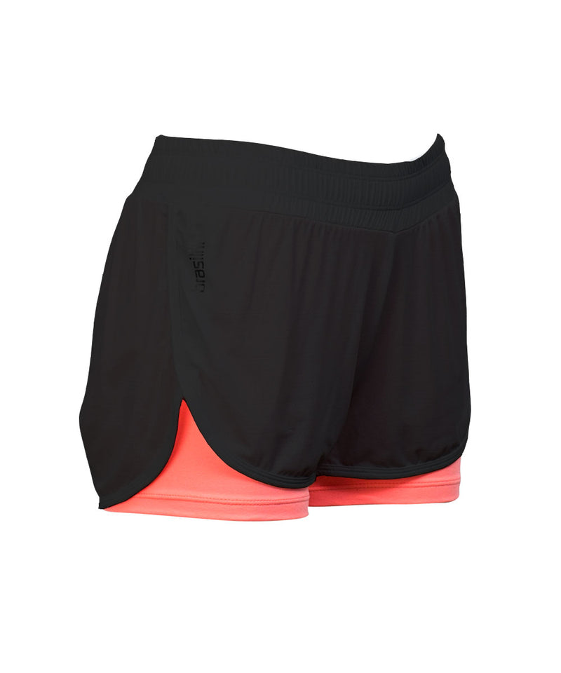 Shorts Sole Black with Coral Brasilfit Activewear