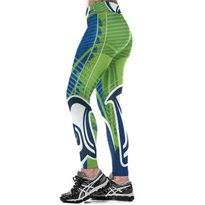 brand new 1b01f 42a3c Women Leggings Seattle Seahawks Sport Print Running Active Sportswear High  Waist Pant Sexy Slim Hip Fitness Jogger Gym