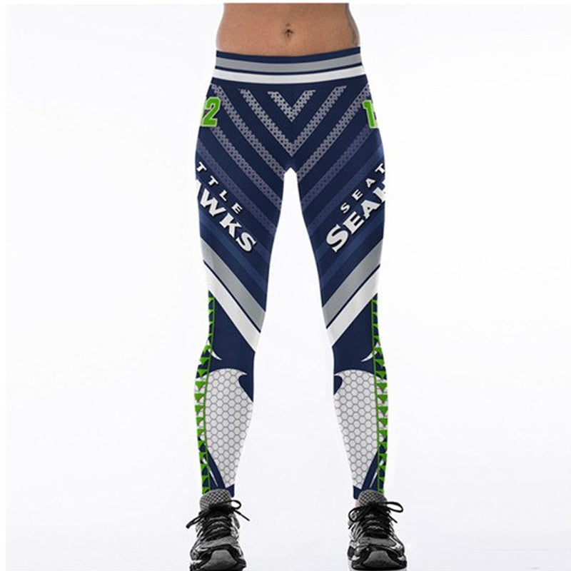on sale d23fc f6121 Women Leggings Seattle Seahawks 12 Sport Print Running Active Sportswear  High Waist Pant Sexy Slim Hip Fitness Jogger Gym