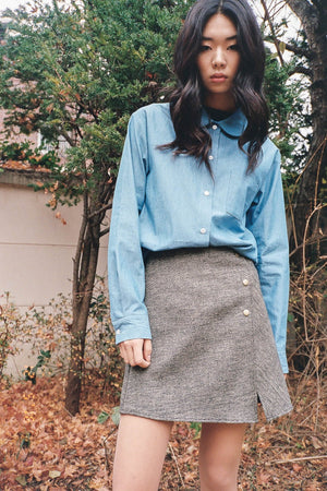 Henry buttoned notch skirt Grey-brown check