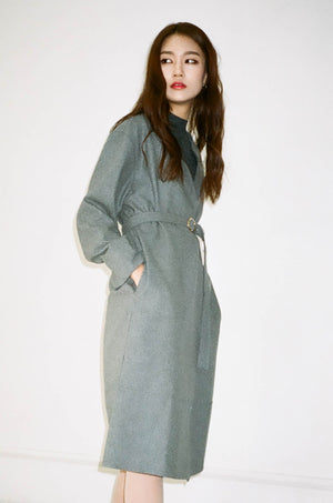 Minimal robe belted coat with round gold buckle Navy