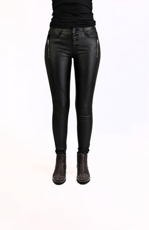 Wet look jeans Black