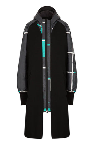 CONNECT winter warm coat-Black/Marnix postman print