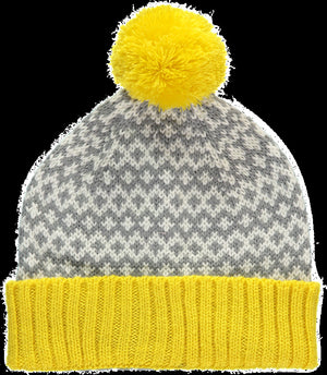 Graphic Beanie Hat Yellow