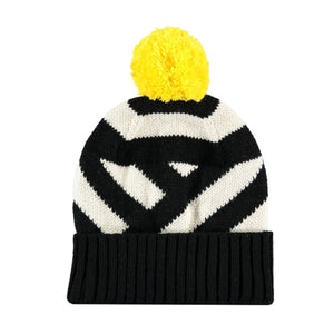 Stripe Beanie Hat Black