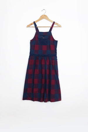 Buffalo Check Pinafore Dress Red and Blue Check