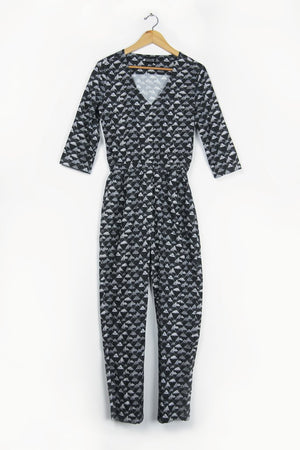 Mountain Print Jumpsuit Black and White