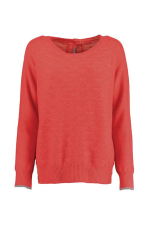 Red Cashmere Button Back Jumper