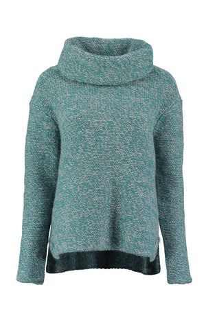 Ice Blue Virgin Wool Roll Neck Jumper