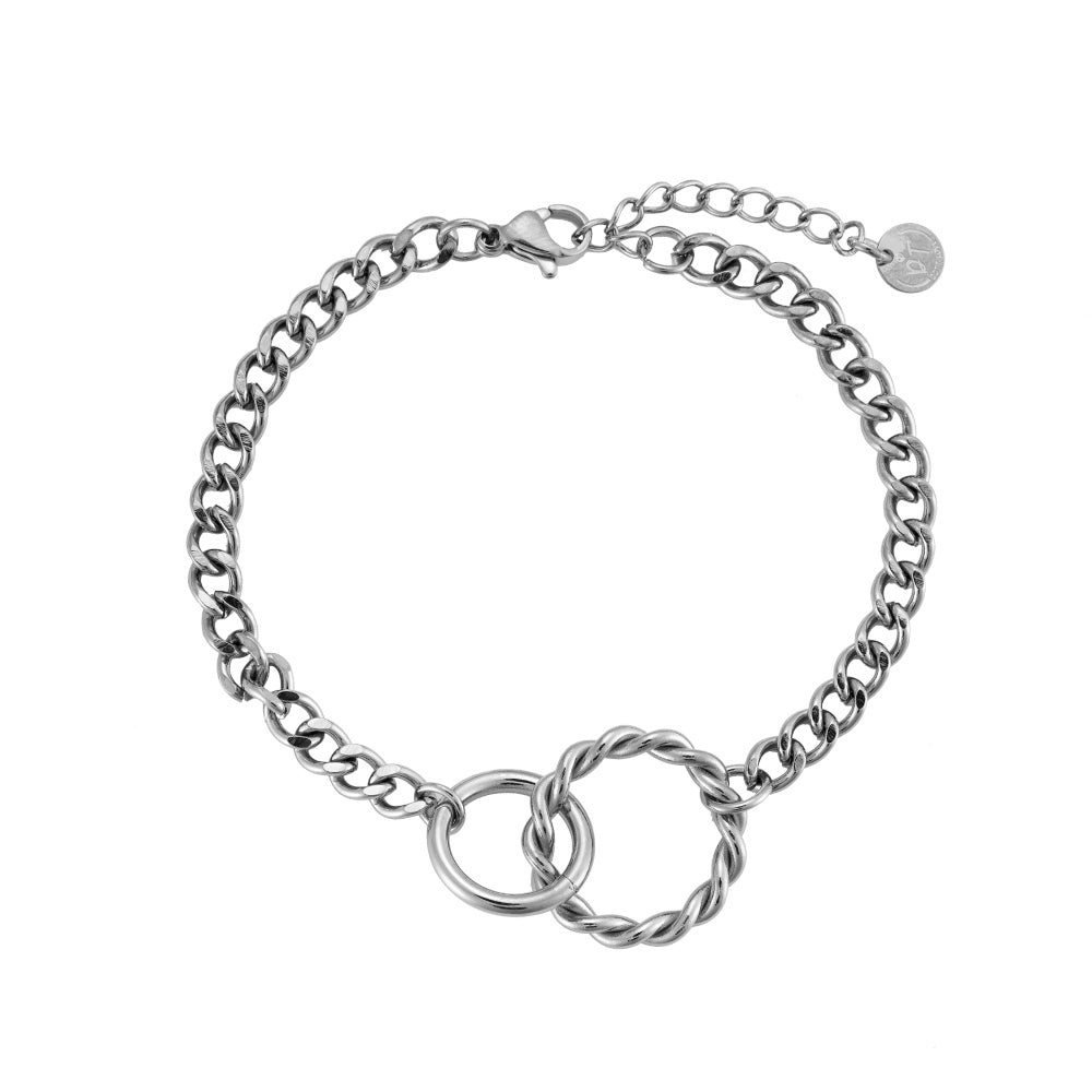 Valerija Connected Circles Armband - Roestvrij staal - 14K verguld - 16 cm + 4 cm