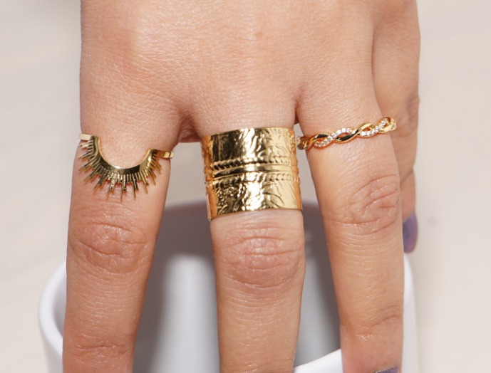 14K Vergulde Ring Met Art Prints
