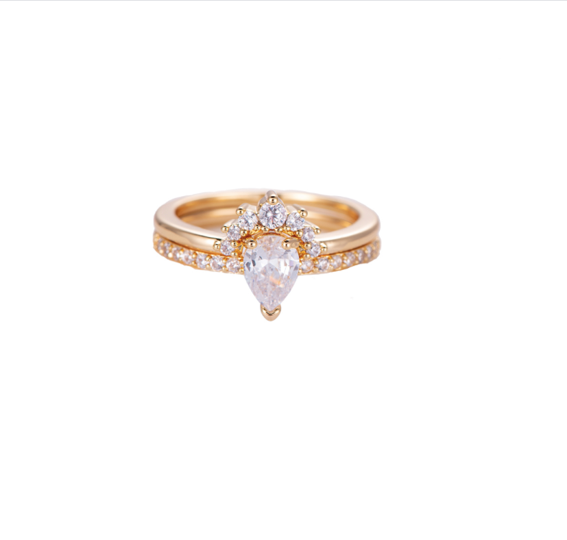 Love Combinatie 14K Vergulde Ring