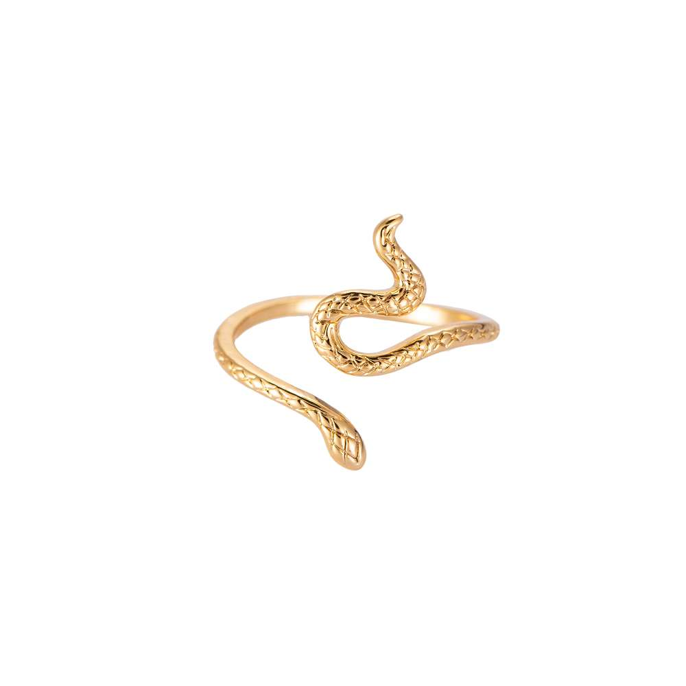 Slang Ring - Snake Ring -14 K Verguld - Een Maat - adjustable size - Dames Ringen