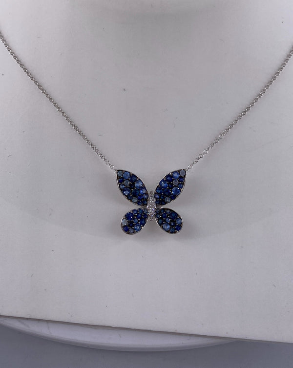 Two tone sapphire and diamond white gold butterfly necklace (NK2469)