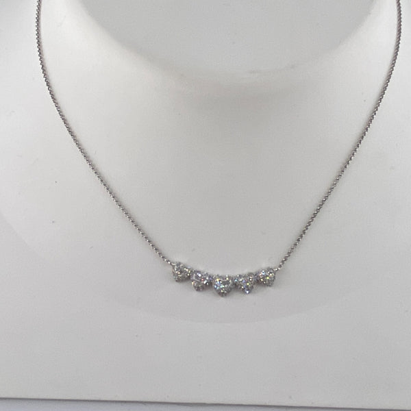 White gold and diamond cluster heart bar necklace (NK2785)