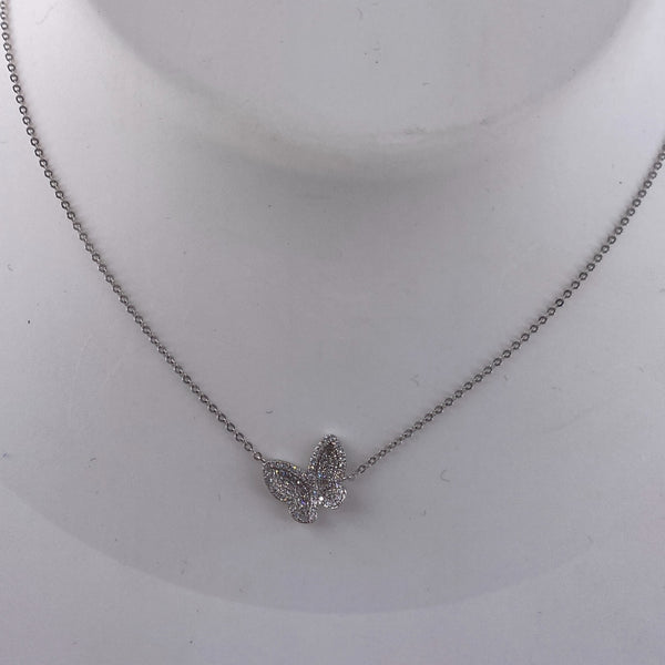 Tilted diamond and white gold butterfly necklace (NK2605)
