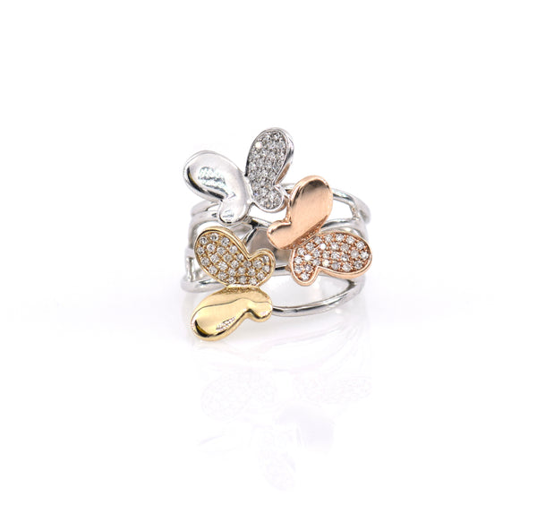 Three Tone Butterfly Ring  (RG3048)