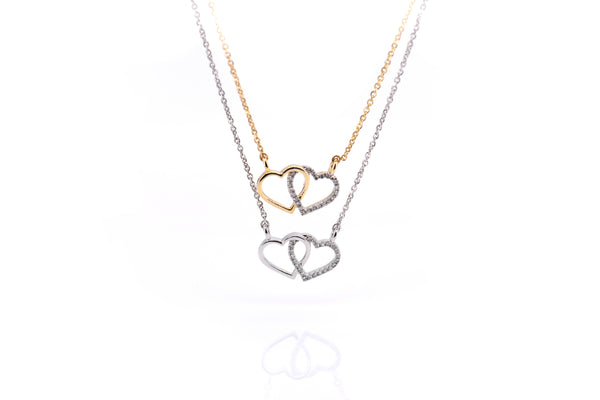 Intertwine double heart Necklace with Diamonds ( NK2536-NK2541)