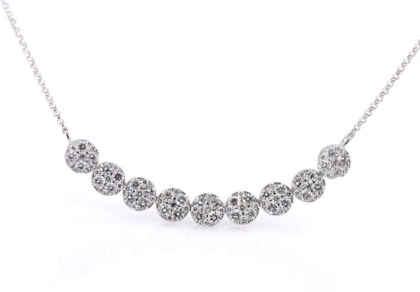 Round cluster bar necklace of Diamonds (NK2651)